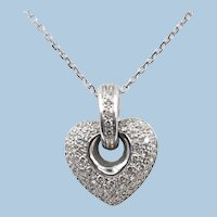18K solid gold pendant covered with diamonds 750 solid white gold, stamped and numbered Vintage romance