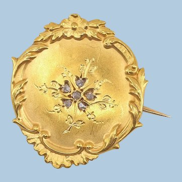 Antique Victorian era 18K solid gold brooch with rose cut diamonds Stamped fine gold jewelry