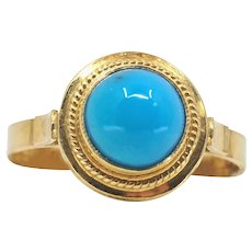 18K solid gold ring with a natural turquoise cabochon gemstone Stamped