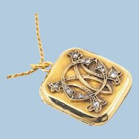 Rare double sided front and back Antique locket in 18K solid gold and diamonds