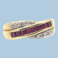 18K solid Gold bypass band with calibrated rubies and natural diamonds Stamped fine gold