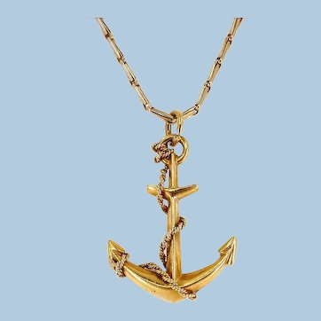 Massive 18K solid gold anchor pendant Stamped Nautical icon Mariner's pendant Fine jewelry