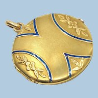 18K solid gold opening photo locket with blue enamel Stamped Napoléonic era solid gold pendant