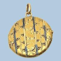 Victorian era 18K solid gold photo locket with enamel.  Stamped fine gold pendant