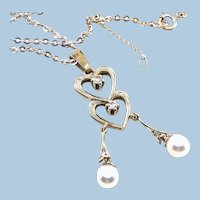 18K solid gold négligé necklace with natual pearls and old cut diamonds stamped fine gold jewelry