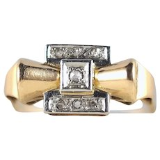 Mid Century Retro 18K solid gold ring in platinum and 18K solid gold Stamped fine gold jewelry
