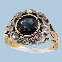 Genuine rare antique ring in 18K solid gold and silver Natural sapphire and earth mine diamonds
