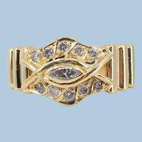 Massive 18K solid gold ring with natural diamonds Stamped fine gold jewelry