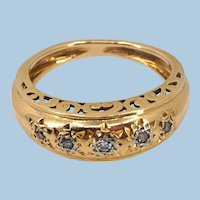 18K solid gold ring with natural diamonds Stamped finely etched gold band