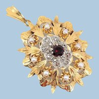 Very large 18K solid gold brooch / pendant with garnet demi pearls and 14 natural diamonds