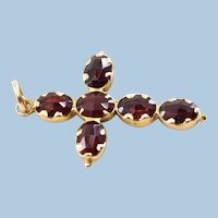 18K solid gold cross with natural garnet Stamped fine gold jewelry