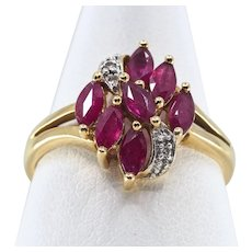 18K solid gold ring with gorgeous faceted spinels and natural diamonds Stamped fine gold