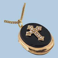 18K solid gold photo locket with crystal divider Stamped Victorian era pendant 18 carat cable chain