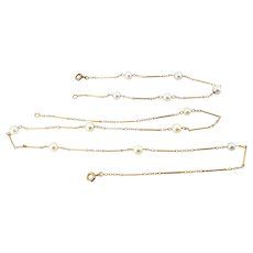 Elegant 18K solid gold Art Nouveau fine jewelry set with natural pearls Stamped