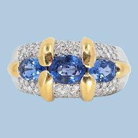 Superb 18K solid gold ring with faceted sapphires and natural diamonds Massive 18 carats Fine gold