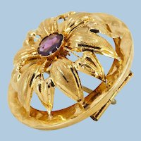 1880s stamped 18K Solid gold Brooch Victorian era antique Flower dome Pin