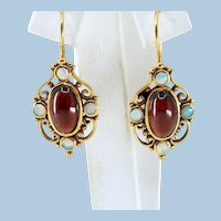 18K solid gold Victorian era drop earrings garnet cabochon and opal natural gemstones Stamped fine genuine period jewelry