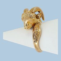 Massive solid gold ram sheep ring Stamped fine 14K solid gold statement ring