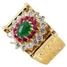 Massive 18K solid gold ring Three tier stamped statement colorful fancy ring Retro fashion style
