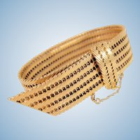Spectacular stamped 18K solid gold massive cuff bracelet Heavy belt lock strap Easy snap closure