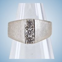 Modernist 14K solid white gold ring with 0.48cttw quality natural diamonds Stamped A shaped trinity ring