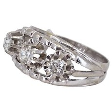 Outstanding Art Déco three-stone 0.48ctw diamond ring 18K solid gold stamped French jewelry