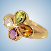 Tutti Frutti Colorful 18K stamped solid gold ring Natural gemstones Gold vibrant color clover