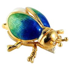 Adorable 18K solid gold beetle Stamped scarab brooch Guilloché enamel Pearl Insect jewelry