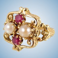 Rubies and pearls French 18K solid gold ring Unusual 1900s Art Nouveau design Stamped