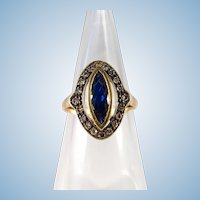 French stamped 18K gold and silver Victorian ring with navette sapphire and diamonds