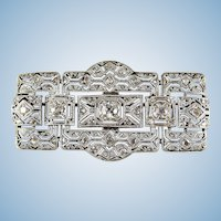 Art Deco platinum silver and over 1.10 ctw diamond filigree brooch French hallmarked pin