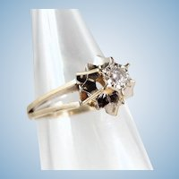 Elegant 18K solid gold Belcher Petite diamond solitaire Natural gemstone French stamped ring