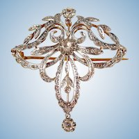 Antique Art Nouveau 18K solid gold brooch with 29 rose cut diamonds Stamped French pin 1900s