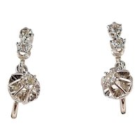 18K solid gold dangling earrings with 6 natural diamonds 750 fine gold French dormeuses