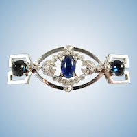 Art Déco brooch with sapphire cabochons and old European cut diamonds 18K solid gold Hallmarked
