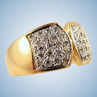 Perfect cigar band in stamped 18K solid gold and diamonds French gold ring