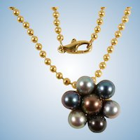 RESERVED Barichella Tahitian multi-colored pearls 18K solid gold chain Stamped and signed by designer