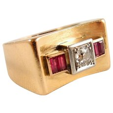 """Solid gold and platinum Deco """"bridge"""" ring Stamped 18K old European cut diamond and red paste"""