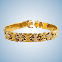Attractive stamped 18K solid gold bracelet Vintage Italian design Two tone gold Security clasp