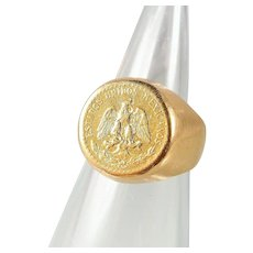 Mexican pesos 900 mil gold coin ring set on a 14K solid gold wide band, Dos peso stamped currency ring, gold signet ring
