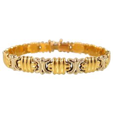 SOLD Elegant Italian design stamped 18K solid gold bracelet Two tone fine gold jewelry Security clasp.