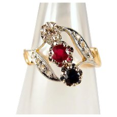 Art Nouveau 18K solid gold bypass ring with natural gemstones Stamped 3 stone trilogy ring