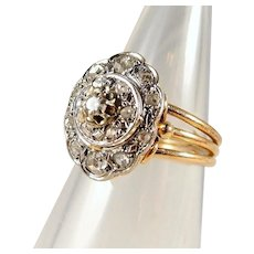 Three tier stamped 18K solid gold ring with 0.54ctw old European and rose cut diamonds Two tone