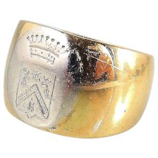 Antique French Armorial family crest signet ring 14.3grams of 18K solid gold and platinum band Stamped and signed