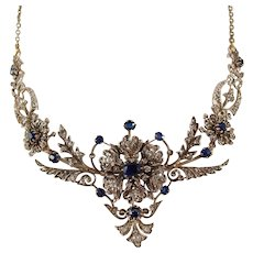Exceptional Napoléon III solid 18K gold and silver necklace Victorian sapphires and diamonds drapery necklace