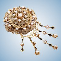 Rare large Victorian era French Napoléon III brooch in 18K solid gold Enamel and pearls