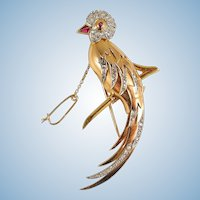 Extra Large French bird of paradise in 18K solid gold covered with 76 rose cut diamonds Stamped