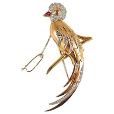 Extra Large French art Déco bird of paradise in 18K solid gold covered with 76 rose cut diamonds Stamped