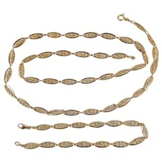 Gorgeous antique 18K solid gold jewelry set Stamped French filigree necklace and bracelet set Fine gold chain