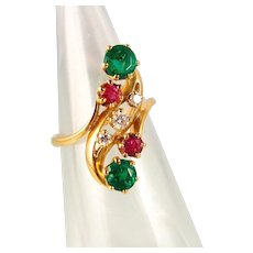 French Art Nouveau crossover ring in 18K solid gold Natural emeralds Rubies and diamonds